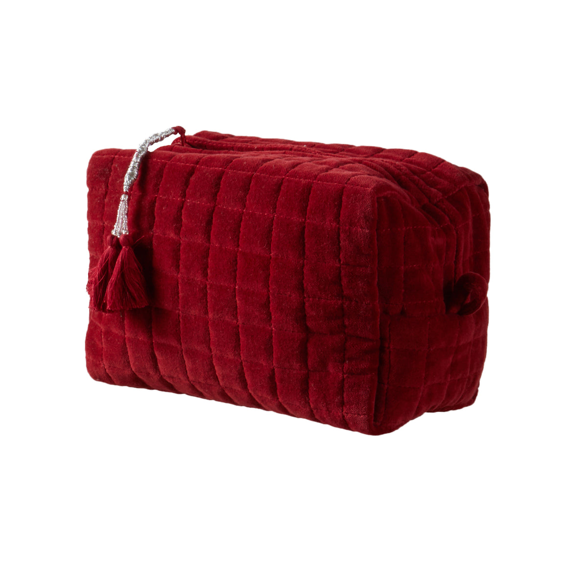QUILTED VELVET COSMETIC BAG RUBY RED M - McHugh Lifestyle BOHEMIAN GLAMOUR