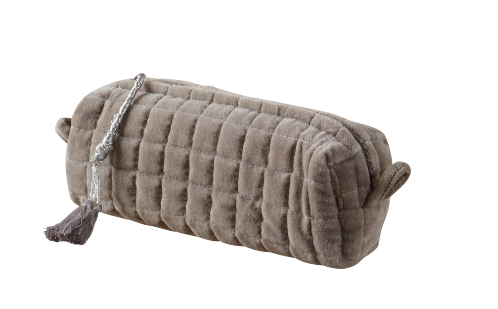 QUILTED VELVET MAKEUP BRUSH BAG  LIGHT GREY S - McHugh Lifestyle BOHEMIAN GLAMOUR