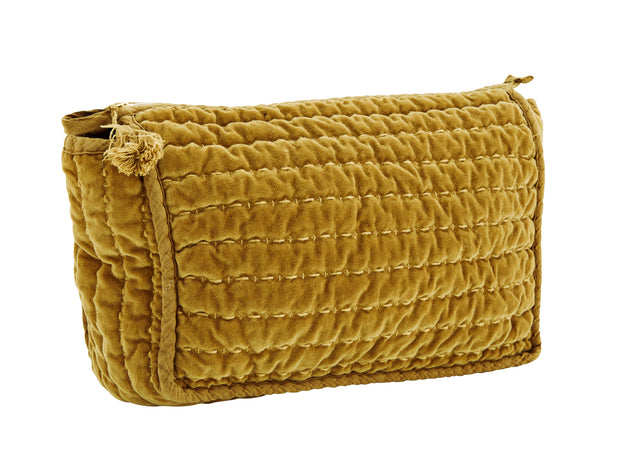 SUGAR ALMOND QUILTED VELVET CLUTCH WITH TASSEL LARGE