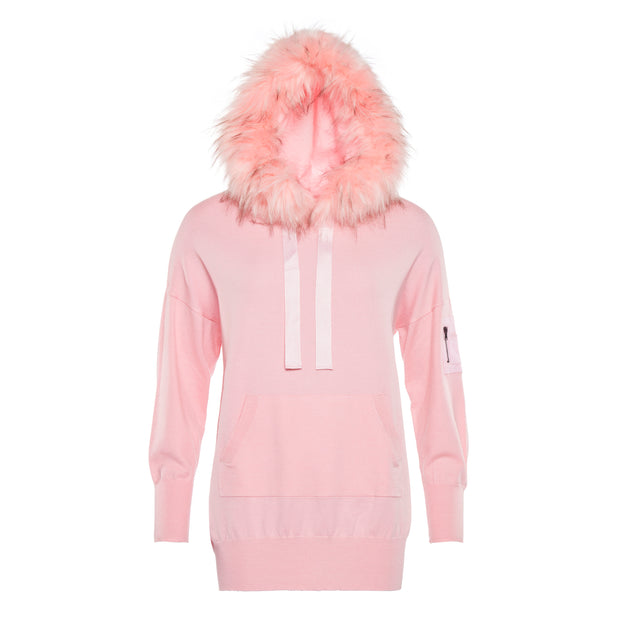 CASHMERE BLEND LOUNGE-SUIT WITH FAUX FUR HOOD PASTEL PINK