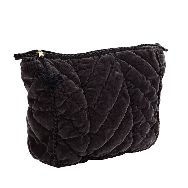 CHARCOAL QUILTED VELVET CLUTCH WITH BLACK TASSEL MEDIUM - McHugh Lifestyle BOHEMIAN GLAMOUR