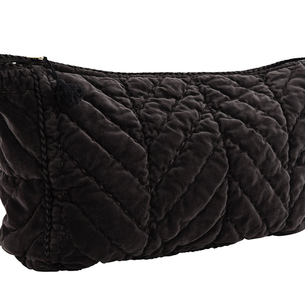 CHARCOAL QUILTED VELVET CLUTCH WITH PIPING & BLACK TASSEL LARGE - McHugh Lifestyle BOHEMIAN GLAMOUR