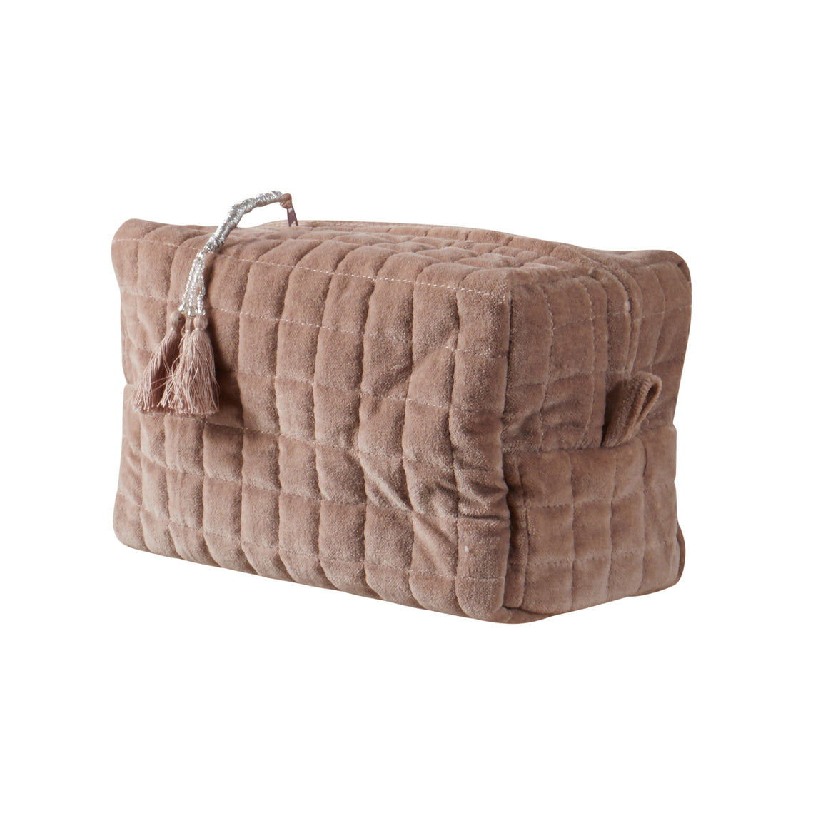 QUILTED VELVET COSMETIC BAG DUSTY PINK XL - McHugh Lifestyle BOHEMIAN GLAMOUR