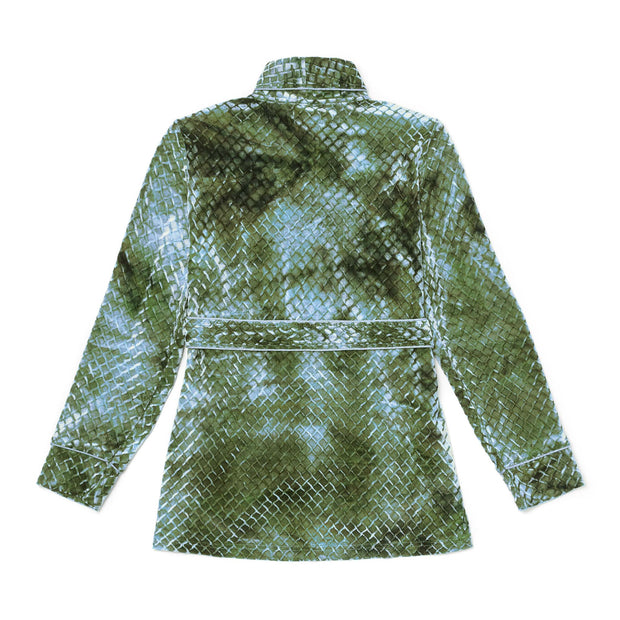 HEFNER VELVET LOUNGE JACKET GREEN