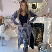 HEFNER VELVET LOUNGE TROUSERS GREY
