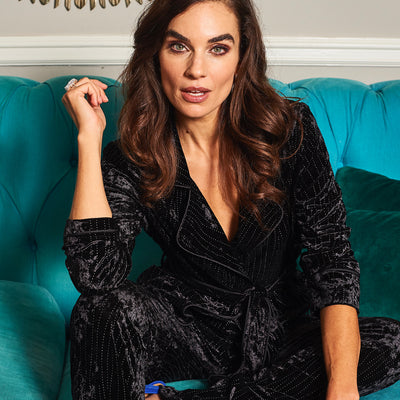 HEFNER STUD VELVET LOUNGE JACKET BLACK