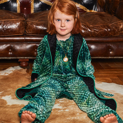 HEFNER UNISEX CHILDREN'S VELVET LOUNGE ROBE EMERALD GREEN