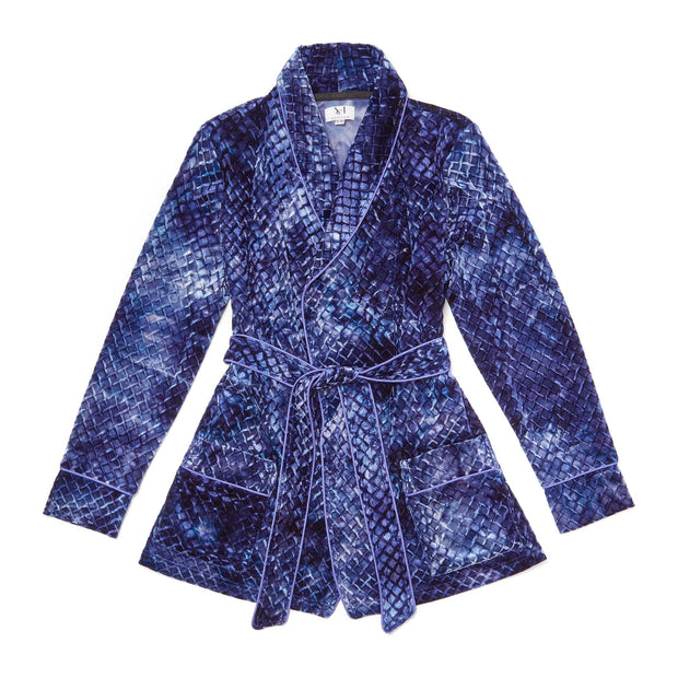 HEFNER VELVET LOUNGE JACKET BLUE