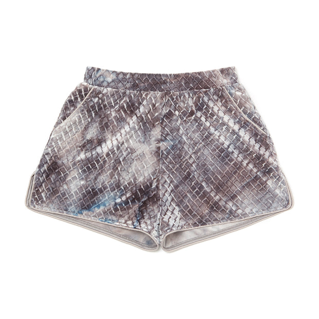 HEFNER VELVET LOUNGE SHORTS GREY