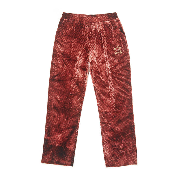 HEFNER VELVET LOUNGE TROUSERS BURGANDY