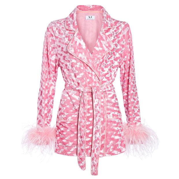 MADAM HEFNER VELVET LOUNGE JACKET PINK WITH FEATHERS