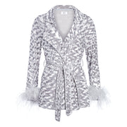 MADAM HEFNER VELVET LOUNGE JACKET SILVER WITH FEATHERS