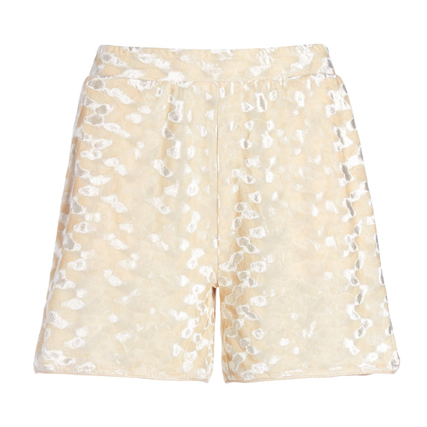 MADAM HEFNER VELVET LOUNGE SHORTS CREAM