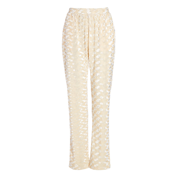MADAM HEFNER VELVET LOUNGE TROUSERS CREAM