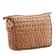 DUSTY ROSE QUILTED VELVET CLUTCH WITH TASSEL MEDIUM