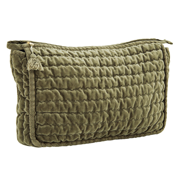 LIGHT JADE QUILTED VELVET CLUTCH WITH TASSEL LARGE