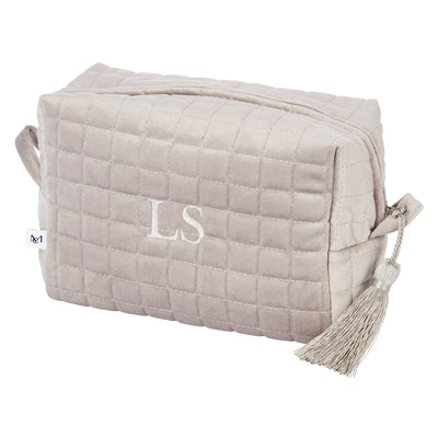 QUILTED VELVET COSMETIC BAG GREY L