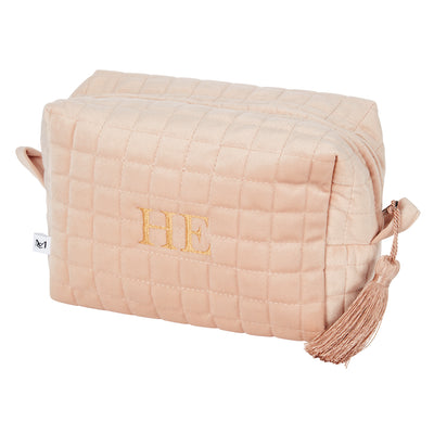QUILTED VELVET COSMETIC BAG CREAM L