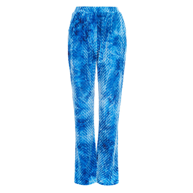 HEFNER VELVET LOUNGE TROUSERS ELECTRIC BLUE