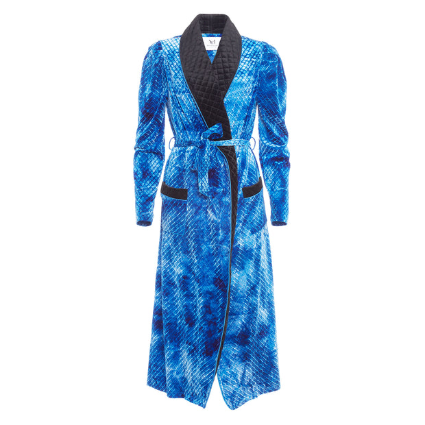 HEFNER VELVET ROBE ELECTRIC BLUE