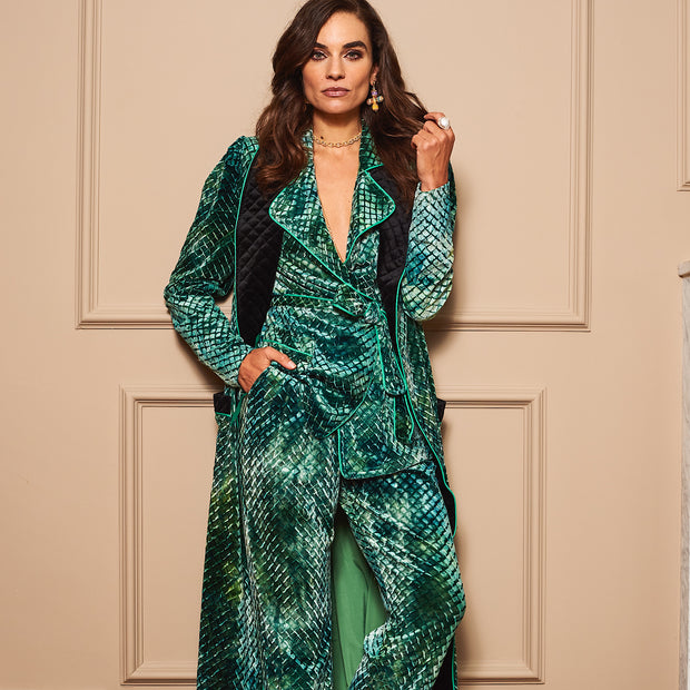 HEFNER VELVET LOUNGE TROUSERS EMERALD GREEN