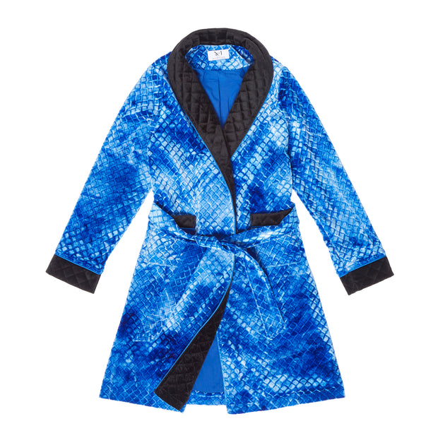 HEFNER UNISEX CHILDREN'S VELVET LOUNGE ROBE ELECTRIC BLUE