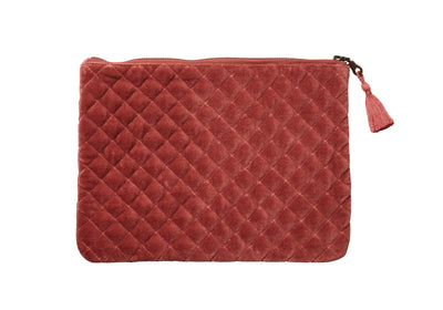 QUILTED VELVET IPAD MINI CASE/COSMETIC BAG DUSTY ORANGE LARGE - McHugh Lifestyle BOHEMIAN GLAMOUR