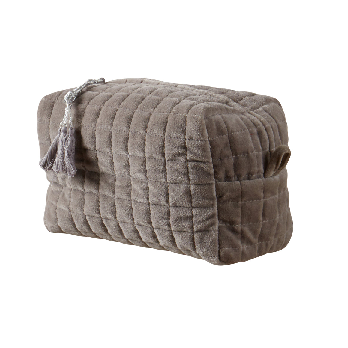 QUILTED VELVET COSMETIC BAG LIGHT GREY M - McHugh Lifestyle BOHEMIAN GLAMOUR