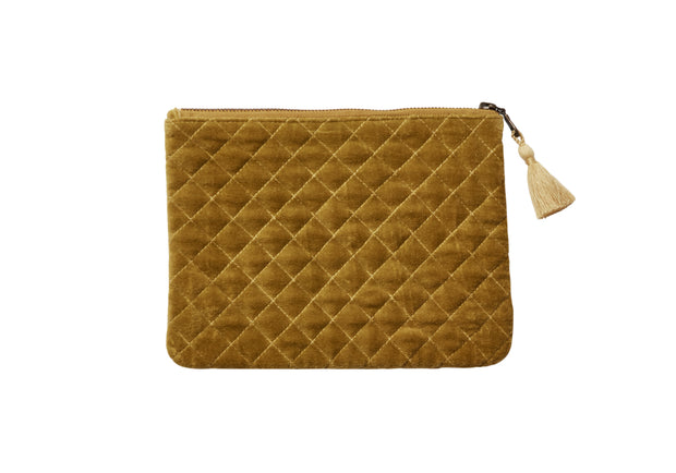 QUILTED VELVET COSMETIC BAG DUSTY ORANGE - McHugh Lifestyle BOHEMIAN GLAMOUR