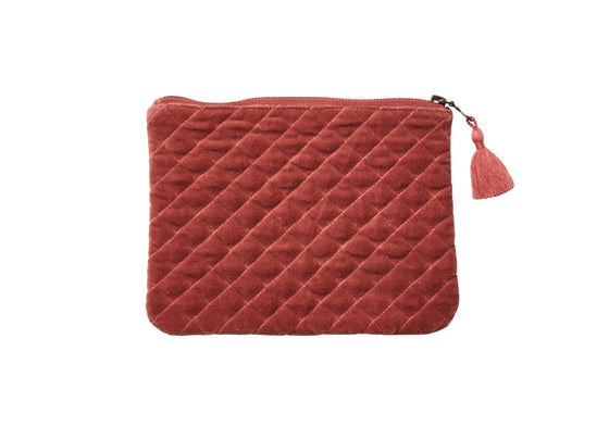 QUILTED VELVET MINI IPAD/CLUTCH DUSTY ORANGE - McHugh Lifestyle BOHEMIAN GLAMOUR