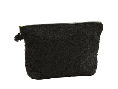 EMBROIDERED LINEN COSMETIC/TOILETRY BAG BLACK WITH TASSEL