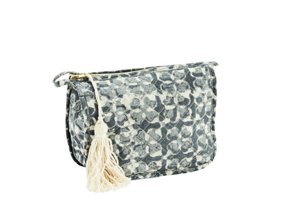 PRINTED BAG BLUE WITH TASSEL