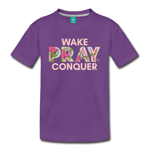 Wake Pray Conquer Toddler Premium T-Shirt - purple