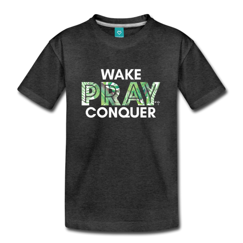 Wake Pray Conquer Kids' Premium T-Shirt - charcoal gray