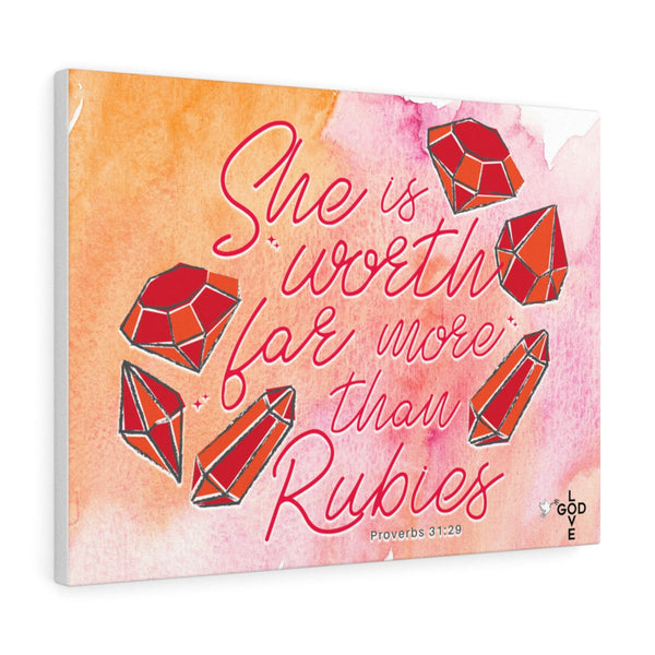 She Is Worth Far More Than Rubies Canvas Gallery Wrap - Shop Love God