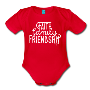 Faith, Family, Friendship Organic Short Sleeve Baby Bodysuit - Shop Love God
