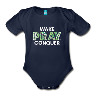 Wake Pray Conquer Organic Short Sleeve Baby Bodysuit - dark navy