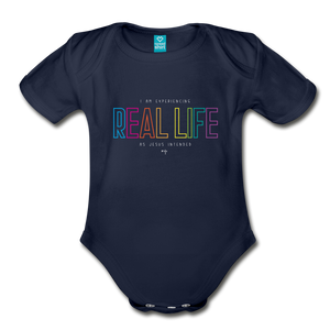 Real Life Organic Short Sleeve Baby Bodysuit - dark navy