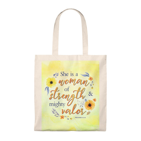 Woman of Strength & Valor Tote Bag - Shop Love God