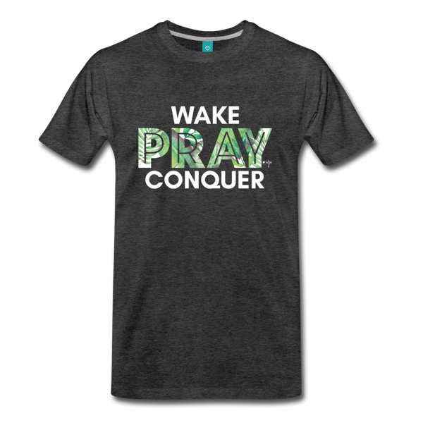 Wake Pray Conquer Men's Premium T-Shirt - charcoal gray