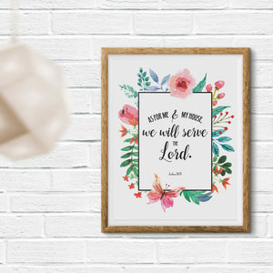 As For Me And My House Printable Digital Wall Art - Shop Love God