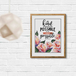 Be Kind Whenever Possible Printable Digital Wall Art - Shop Love God