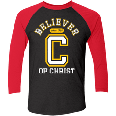 Believer Tri-Blend 3/4 Sleeve Baseball Raglan T-Shirt - Shop Love God