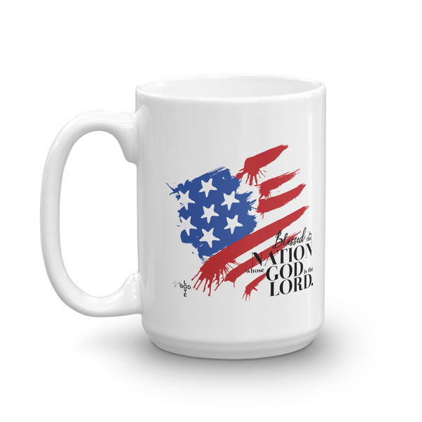 Blessed Is The Nation White PERSONALIZED Mug - Shop Love God