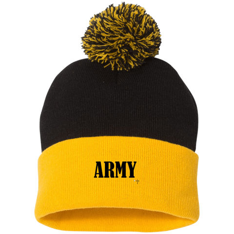 Army Sportsman Pom Pom Knit Cap - Shop Love God
