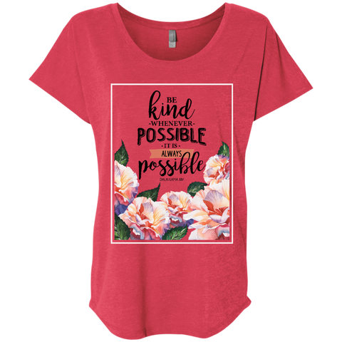 Be Kind Whenever Ladies' Triblend Dolman Sleeve - Shop Love God