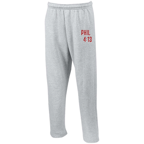 Phil 4:13 Open Bottom Sweatpants with Pockets - Shop Love God