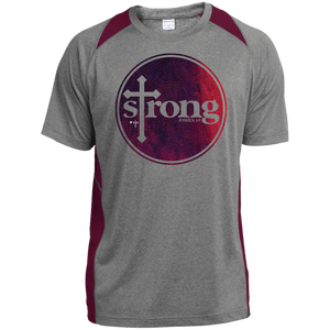 Strong Heather Colorblock Poly T-Shirt