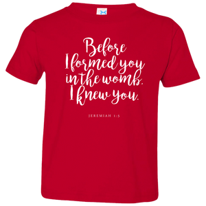 Before I Formed You Kids Jersey T-Shirt - Shop Love God