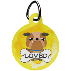 Loved Bull Dog Circle Pet Tag